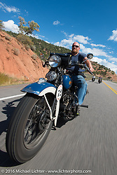 """Robb Kraft riding his 1936 Harley-Davidson VLH 80"""" during stage 11 (289 miles) of the Motorcycle Cannonball Cross-Country Endurance Run, which on this day ran from Grand Junction, CO to Springville, UT., USA. Tuesday, September 16, 2014.  Photography ©2014 Michael Lichter."""
