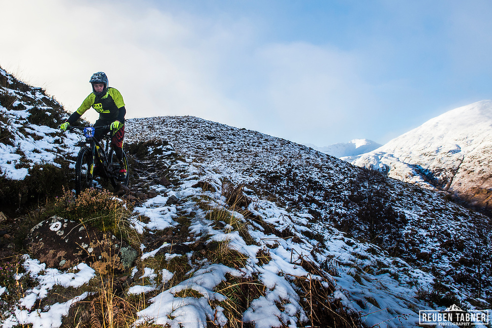 Adam Crawshaw tackles stage one of the Kinlochleven Enduro.