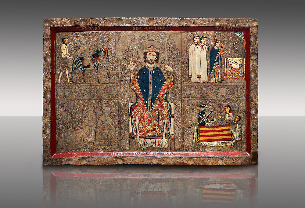 Romanesque painted Gia altar front<br /> <br /> Second quarter of the thirteenth century from the church of Santa Maria Gia and Xia, High Ribagorca, Huesca, Spain<br /> <br /> Acquired by the National Art Museum of Catalonia, Barcelona 1932. Ref: 3902 MNAC.<br /> <br /> Romanesque painted altar front from Santa Maria Gia, Spain, showing Scenes from the life of Saint Martin. The  exceptionally the bottom frame remains the signature of the author, a painter named John (Johannes). This work is typical of the Ribagorca style and incorporates early gothic compositional styles and narrative that subtly illuminates the faces. Also typical of the Ribagorca workshop are the  decorated plaster reliefs on the entire surface of the front, which is covered with the characteristic gold leaf. .<br /> <br /> If you prefer you can also buy from our ALAMY PHOTO LIBRARY  Collection visit : https://www.alamy.com/portfolio/paul-williams-funkystock/romanesque-art-antiquities.html<br /> Type -     MNAC     - into the LOWER SEARCH WITHIN GALLERY box. Refine search by adding background colour, place, subject etc<br /> <br /> Visit our ROMANESQUE ART PHOTO COLLECTION for more   photos  to download or buy as prints https://funkystock.photoshelter.com/gallery-collection/Medieval-Romanesque-Art-Antiquities-Historic-Sites-Pictures-Images-of/C0000uYGQT94tY_Y