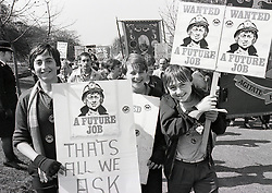 Children & young people on Miners' Strike demo, Nottingham UK 14 April 1984