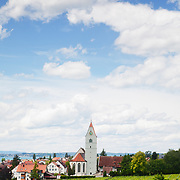 A view of vineyards and the town of Hagnau near Lake Constance (Bodensee) in southern Germany.<br />