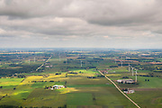 Aerial photograph of a wind farm in Dodge County, Wisconsin, USA, northeast of Horicon.