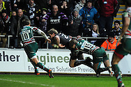 Jonathan Spratt of the Ospreys © dives over for final try. Heineken cup rugby, pool 2, Ospreys v Leicester Tigers at the Liberty Stadium in Swansea, South Wales on Sunday 13th Jan 2013. pic by Andrew Orchard, Andrew Orchard sports photography,