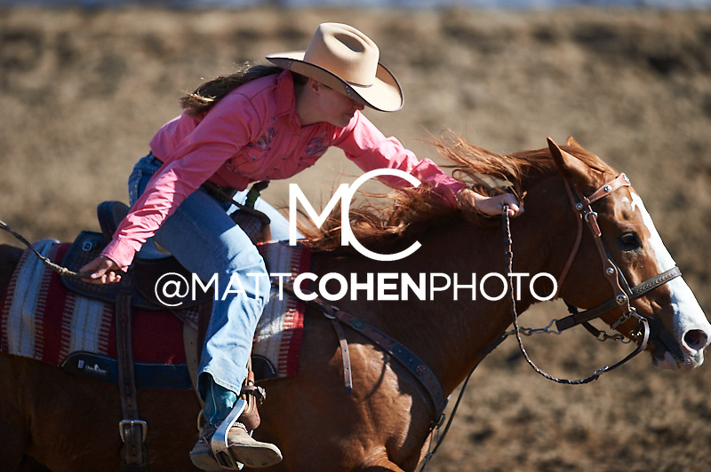 Barrel racer Callie DuPerier of Boerne, TX competes at the Clovis Rodeo in Clovis, CA.<br /> <br /> <br /> UNEDITED LOW-RES PREVIEW<br /> <br /> <br /> File shown may be an unedited low resolution version used as a proof only. All prints are 100% guaranteed for quality. Sizes 8x10+ come with a version for personal social media. I am currently not selling downloads for commercial/brand use.