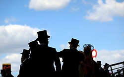 Racegoers during day three of Royal Ascot at Ascot Racecourse. PRESS ASSOCIATION Photo. Picture date: Thursday June 21, 2018. See PA story RACING Ascot. Photo credit should read: Nigel French/PA Wire. RESTRICTIONS: Use subject to restrictions. Editorial use only, no commercial or promotional use. No private sales.