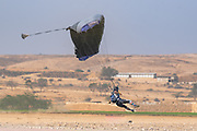 Skydiver paragliding during the jump. coming in to land Photographed in Israel