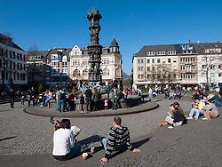 Many people in Josef Gorres Platz in Koblenz Germany