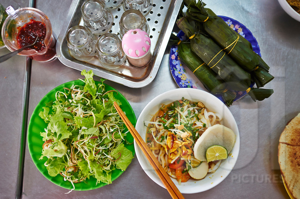 Top view of a Mi Quang dish, a speciality of central Vietnam, Southeast Asia