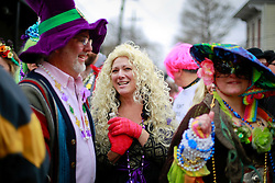 17 Feb 2015. New Orleans, Louisiana.<br /> Fat Tuesday. Mardi Gras Day. Faces in the crowd. Revelers dressed in costume for the day.<br /> Photo; Charlie Varley/varleypix.com