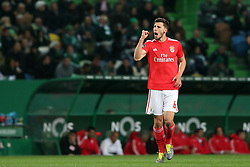 February 3, 2019 - Lisbon, Portugal - Benfica's Portuguese defender Ruben Dias celebrates after scoring a goal during the Portuguese League football match Sporting CP vs SL Benfica at Alvalade stadium in Lisbon, Portugal on February 3, 2019. (Credit Image: © Pedro Fiuza/ZUMA Wire)