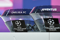 NYON, SWITZERLAND - Monday, December 14, 2020: The draw pot for Chelsea FC during the UEFA Champions League 2020/21 Round of 16 draw at the UEFA Headquarters, the House of European Football. (Photo Handout/UEFA)