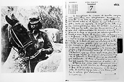 A composite image showing the last page (right) in the diaries of Latin-American guerrilla Che Guevara and (left) an image thought to be the last of Che before he was killed. The diaries are expected to fetch a price of about £250,000 at a Sotheby's sale on July 16th.