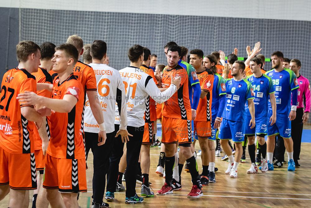 25-10-2019 SLO: Slovenia - Netherlands, Ormoz<br /> Players of both teams shaking hands after friendly handball match between Slovenia and Nederland, on October 25, 2019 in Sportna dvorana Hardek, Ormoz, Slovenia.