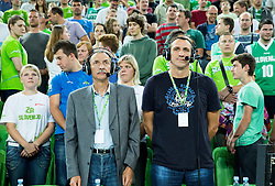 Miha Zibrat and Roman Horvat during friendly basketball match between National Teams of Slovenia and Brasil at Day 2 of Telemach Tournament on August 22, 2014 in Arena Stozice, Ljubljana, Slovenia. Photo by Vid Ponikvar / Sportida