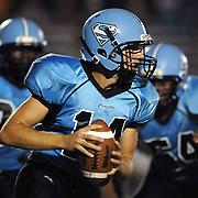 South Brunswick High School's Cole Blackburn looks to pass against North Brunswick Friday September 13, 2013 at South Brunswick High School. (Jason A. Frizzelle)