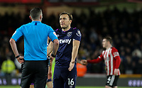 West Ham United's Mark Noble remonstrates with referee Michael Oliver<br /> <br /> Photographer Rich Linley/CameraSport<br /> <br /> The Premier League - Sheffield United v West Ham United - Friday 10th January 2020 - Bramall Lane - Sheffield <br /> <br /> World Copyright © 2020 CameraSport. All rights reserved. 43 Linden Ave. Countesthorpe. Leicester. England. LE8 5PG - Tel: +44 (0) 116 277 4147 - admin@camerasport.com - www.camerasport.com