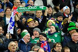 February 3, 2018 - Saint Denis, Seine Saint Denis, France - Irish fans sing anthem at NatWest Six Nations Rugby tournament between France and Ireland at Stade de France - St Denis - France..Ireland Won 15-13 (Credit Image: © Pierre Stevenin via ZUMA Wire)