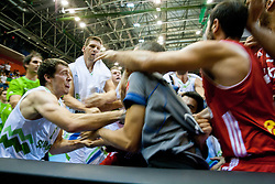 Goran Dragic of Slovenia in fight during friendly match between National teams of Slovenia and Turkey for Eurobasket 2013 on August 4, 2013 in Arena Zlatorog, Celje, Slovenia. (Photo by Vid Ponikvar / Sportida.com)