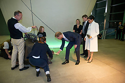 RETRANSMITTED WITH ADDITIONAL CAPTION INFORMATION The Duke and Duchess of Sussex receive their tickets from a robotic tortoise puppet as they attend a gala performance of The Wider Earth at the Natural History Museum in London.