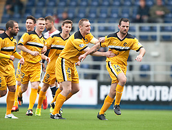 Dumbarton's Andy Graham celebrates after scoring their first goal.<br /> Falkirk 1 v 2 Dumbarton, Scottish Championship game played today at the Falkirk Stadium.<br /> ©Michael Schofield.