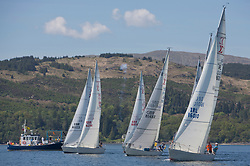 Sailing - SCOTLAND  - 25th-28th May 2018<br /> <br /> The Scottish Series 2018, organised by the  Clyde Cruising Club, <br /> <br /> First days racing on Loch Fyne.<br /> <br /> Sigma 33 Class Start with IRL16010, Busy Beaver, M Bradshaw,J Gallagher, Cove Sailing Club, Sigma 33 OOD<br /> <br /> Credit : Marc Turner<br /> <br /> <br /> Event is supported by Helly Hansen, Luddon, Silvers Marine, Tunnocks, Hempel and Argyll & Bute Council along with Bowmore, The Botanist and The Botanist