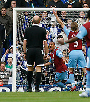 Photo: Steve Bond/Sportsbeat Images.<br /> Birmingham City v Aston Villa. The FA Barclays Premiership. 11/11/2007. Gabriel Agbonlahor, centre, turns away as the ball hits the back of the net