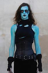 © Licensed to London News Pictures. 08/04/2017. London, UK. Ophelia from Brutal Legend joins participants taking part in the inaugural Games Character Parade, walking from Guildhall to Paternoster Square.  The event formed part of the London Games Festival welcoming cosplayers, wearing costumes inspired by videogame characters, to the UK's biggest parade of cosplayers.   Photo credit : Stephen Chung/LNP