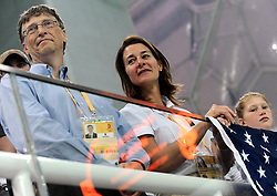 Bill Gates and his wife Melinda announce their divorce. The billionaire co-founder of Microsoft, and his wife, who reside in Washington State, are to divorce after twenty-seven years of marriage, and twenty years of working together in their foundation - File - Bill Gates and his wife Melinda with their children attend the Swimming Finals during the XXIX Olympiad at the National Aquatics Center in Beijing, China on August 10, 2008. Photo by Jing Min/Cameleon/ABACAPRESS.COM