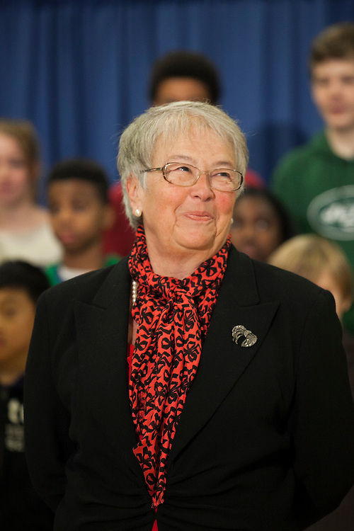 Mayor-Elect Bill de Blasio announces his appointment of Carmen Fariña, pictured, as Schools Chancellor at William Alexander Middle School in Park Slope, Brooklyn, NY on Monday, Dec. 30, 2013.<br /> <br /> CREDIT: Andrew Hinderaker for The Wall Street Journal<br /> SLUG: NYSTANDALONE