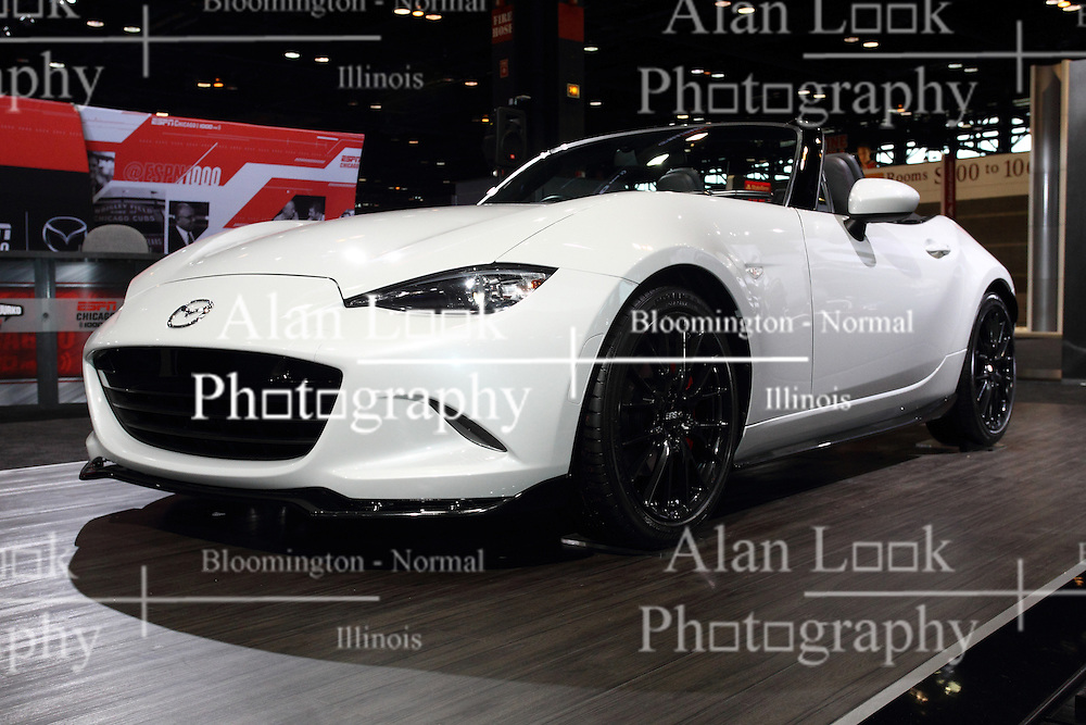 12 February 2015:  2016 MAZDA MX-5: The Mazda MX-5 two-seat roadster has a long association with the Chicago Auto Show. It was at the 81st CAS, Feb. 11-19, 1989, that the original Mazda MX-5 Miata made its public debut.  Continuing that tradition, Mazda will be displaying the new 2016 MX-5, at the 2015 Chicago show. This is the fourth-generation of the world's best-selling roadster, with its compact open-top body, a front-midship engine rear-wheel drive configuration, 50:50 front-rear weight distribution, and an affordable price. The 2016 Mazda MX-5 is distinguished by a fresh approach to Mazda's KODO design language, which combines beautiful proportions with body surfaces that express the contrast between stillness and motion. A snug feeling cabin has been moved a little toward the rear to create the appearance that the occupants are sitting at the body's midpoint. The heart of the new MX-5 is a new generation Skyactiv 2.0-liter four-cylinder engine, and can be mated to the buyer's choice of either a six-speed manual or automatic transmission, specially tuned for the MX-5. It is the most compact of any generation MX-5 so far and is more than 220 pounds lighter than the model it replaces, promising a dramatic leap in Jinba-ittai driving fun. Some of the mass savings comes from the further use of aluminum components and the weight of the soft top is reduced. After visiting the Chicago show, stop by a local Mazda dealership and experience the top down enjoyment of feeling the breeze and the smile on your face while driving the fourth generation MX-5 Miata.<br /> <br /> First staged in 1901, the Chicago Auto Show is the largest auto show in North America and has been held more times than any other auto exposition on the continent. The 2015 show marks the 107th edition of the Chicago Auto Show. It has been  presented by the Chicago Automobile Trade Association (CATA) since 1935.  It is held at McCormick Place, Chicago Illinois