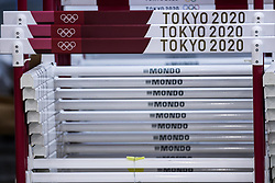 TOKYO, JAPAN --AUGUST 28: The Olympic logos on hurdles during the Tokyo 2020 Paralympic Games in the storage of Olympic Stadium on August 28, 2021 in Tokyo, Japan. Photo by Vid Ponikvar / Sportida