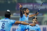 BHUBANESWAR  (INDIA) -  Quater Finals Belgium vs India of the Hero Champions Trophy Hockey.   Rupinder Singh of India scored (m) , right Manpreet Singh of India\.Photo KOEN SUYK