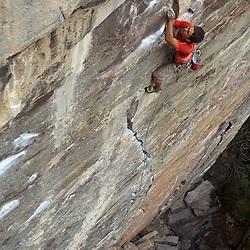 Rock Climbing - Sam Lambert on Scared Peaches 5.12a at Lake Louise