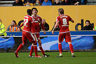 Middlesbrough striker Diego Fabbrini celebrates the equaliser during the Sky Bet Championship match between Wolverhampton Wanderers and Middlesbrough at Molineux, Wolverhampton, England on 24 October 2015. Photo by Alan Franklin.