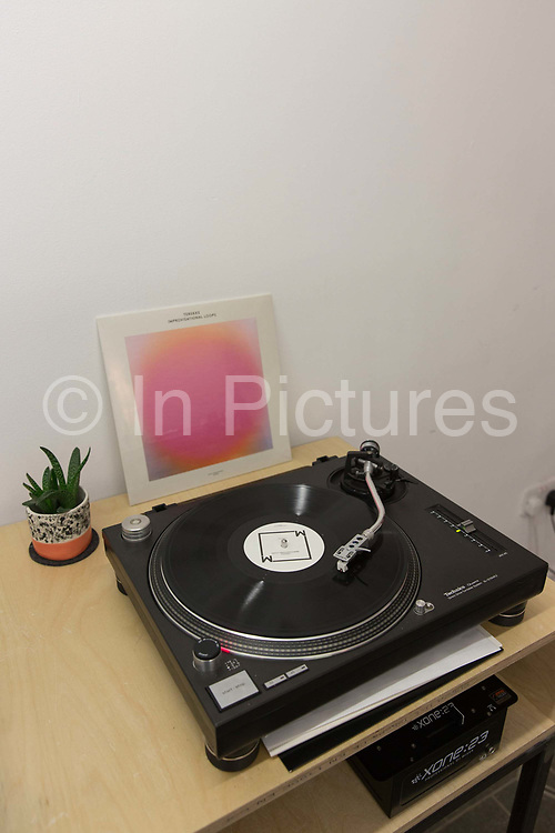 A turntable at the independent record store, Lobster Records in Hackney on the 29th March 2018 in East London in the United Kingdom.