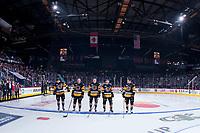 REGINA, SK - MAY 22: Hamilton Bulldogs' starting line up at the Brandt Centre on May 22, 2018 in Regina, Canada. (Photo by Marissa Baecker/CHL Images)