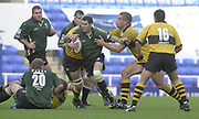 Reading, Berkshire, 29/09/02<br /> London Irish vs Wasps,<br /> Exiles Kevin Barrett, attacks the centre of the Wasps defence, during the ZURICH PREMIERSHIP RUGBY match at the Madejski Stadium,  [Mandatory Credit: Peter Spurrier/Intersport Images],