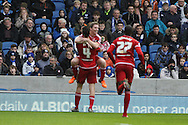 Goalscorer Middlesbrough FC defender Daniel Ayala with teammate midfielder Grant Leadbitter to celebrate Middlesbroughs second goal during the Sky Bet Championship match between Brighton and Hove Albion and Middlesbrough at the American Express Community Stadium, Brighton and Hove, England on 19 December 2015. Photo by Geoff Penn.