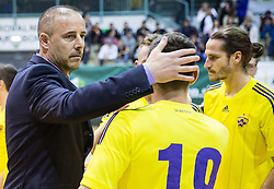 Robert Grdovic, coach of Maribor and Matic Grusovnik after the futsal match between Inter FS (ESP) and SD Brezje Maribor (SLO) in Elite Round - Group C of UEFA Futsal Cup  2016/17, on November 26, 2016 in Arena Tabor, Maribor, Slovenia. Photo by Vid Ponikvar / Sportida