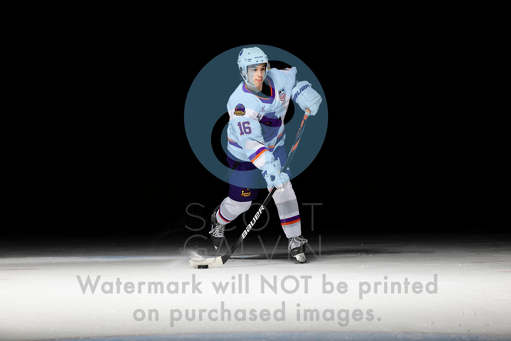Youngstown Phantoms player photo shoot on April 14, 2021. <br /> <br /> Jack Larrigan, forward, 16
