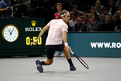 November 3, 2018 - Paris, France - Swiss player ROGER FEDERER returns the ball to Japanese player KEI NISHIKORI during the quarter final of tournament Rolex Paris Master, at AccorHotel Arena Stadium in Paris - France..Roger Federer won 6-4 6-4. (Credit Image: © Pierre Stevenin/ZUMA Wire)