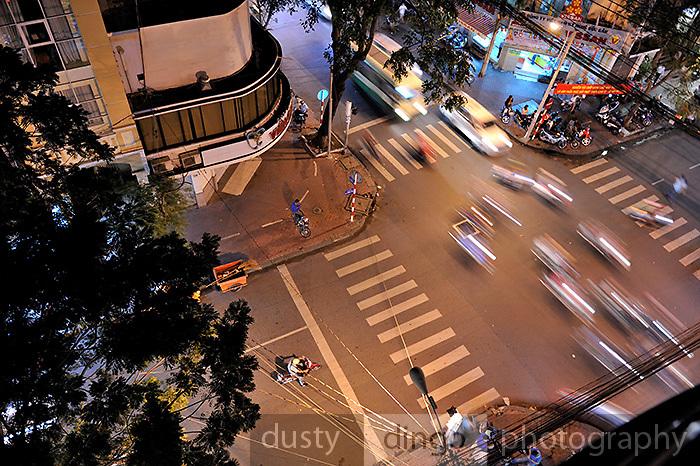Aerial view of evening traffic, Ho Chi Minh City (Saigon), Vietnam