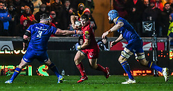 Scarlets' Jonathan Evans evades the tackle of Leinster's Michael Bent<br /> <br /> Photographer Craig Thomas/Replay Images<br /> <br /> Guinness PRO14 Round 17 - Scarlets v Leinster - Friday 9th March 2018 - Parc Y Scarlets - Llanelli<br /> <br /> World Copyright © Replay Images . All rights reserved. info@replayimages.co.uk - http://replayimages.co.uk