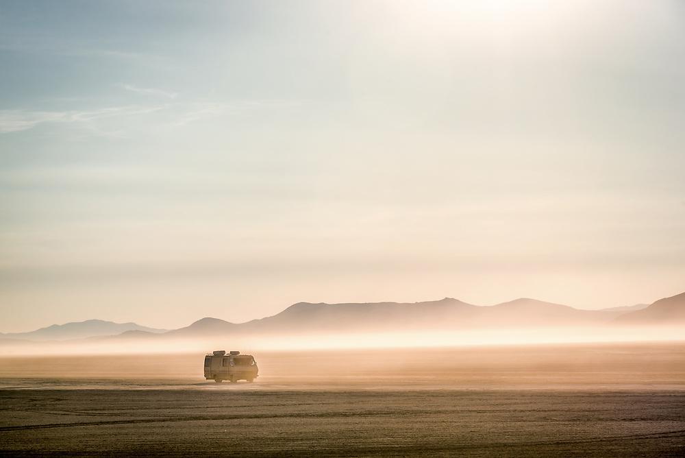 Motorhome on the playa in Black Rock Desert, Nevada. 2 days after the Burning Man festival.