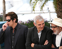 Benicio Del Toro, Laurent Cantet, Elia Suleiman, at the 7 Dias En La Habana photocall at the 65th Cannes Film Festival France. Wednesday 23rd May 2012 in Cannes Film Festival, France.