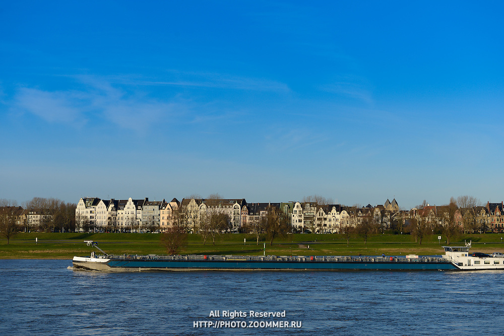 Barge On Rhine river,  Dusseldorf, Germany