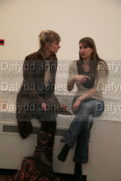 Inga Schulte and Claudia Stockhausen, Planit- Exhibition of work by Ian Munroe. Haunch of Venison. London. 1 March 2007.  -DO NOT ARCHIVE-© Copyright Photograph by Dafydd Jones. 248 Clapham Rd. London SW9 0PZ. Tel 0207 820 0771. www.dafjones.com.