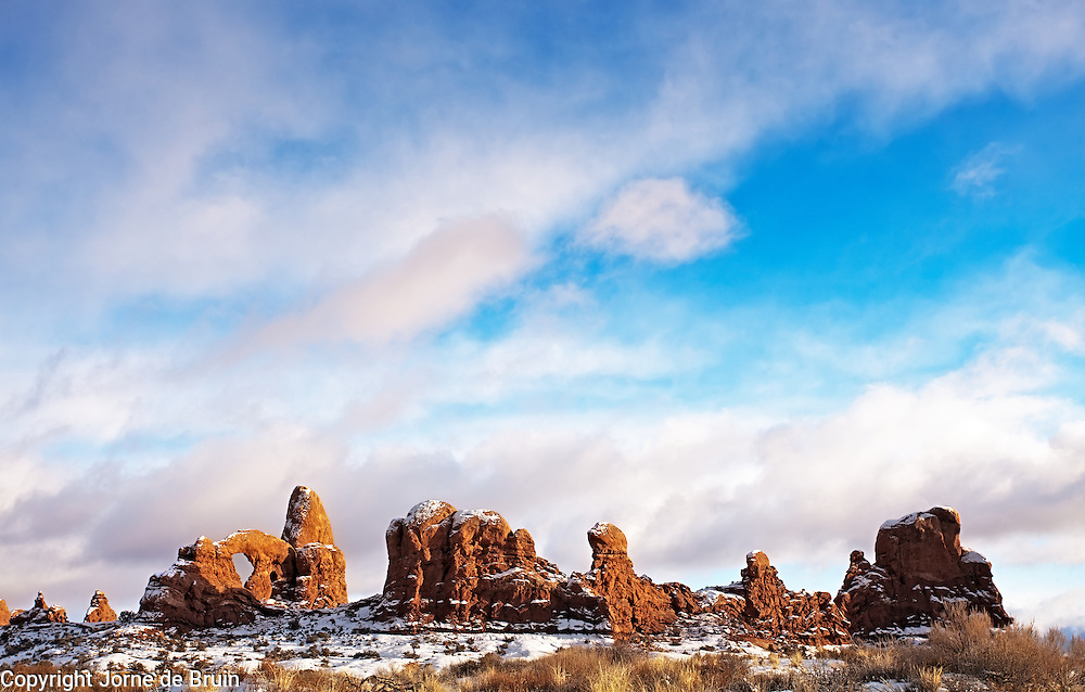 Turret Arch in late afternoon light in Arches National Park, Utah.