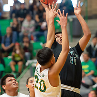 In Newcomb, Douglas Whitehorse (34) of Tse Yi Gai tries to get the shot off as Shannon Bitsilly (20) of Newcomb gets a hand on it. Newcomb won 83-49 on Saturday.