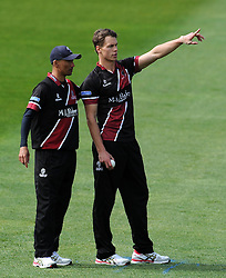 Somerset's Adam Dibble and Alfonso Thomas- Photo mandatory by-line: Harry Trump/JMP - Mobile: 07966 386802 - 30/03/15 - SPORT - CRICKET - Pre Season Fixture - T20 - Somerset v Gloucestershire - The County Ground, Somerset, England.